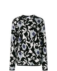Jersey con cuello circular con print de flores en negro y blanco de Christian Wijnants