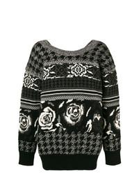 Jersey con cuello circular con print de flores en negro y blanco de Junya Watanabe