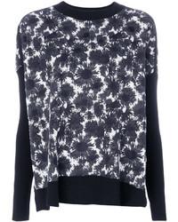 Jersey con cuello circular con print de flores en negro y blanco de Marni