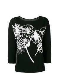 Jersey con cuello circular con print de flores en negro y blanco de Weekend Max Mara