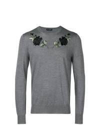 Jersey con cuello circular con print de flores gris de Alexander McQueen