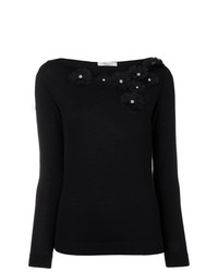 Jersey con cuello circular con print de flores negro de Blumarine