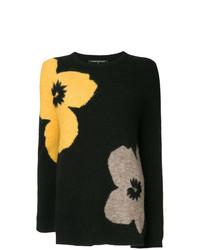 Jersey con cuello circular con print de flores negro de Luisa Cerano
