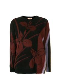 Jersey con cuello circular con print de flores negro de N°21