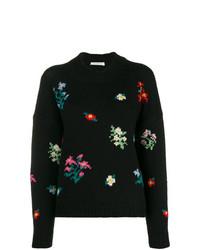 Jersey con cuello circular con print de flores negro de Philosophy di Lorenzo Serafini