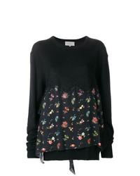 Jersey con cuello circular con print de flores negro de Preen by Thornton Bregazzi