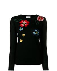 Jersey con cuello circular con print de flores negro de Sonia Rykiel