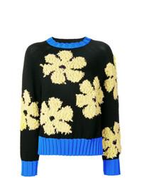 Jersey con cuello circular con print de flores negro de Sport Max Code