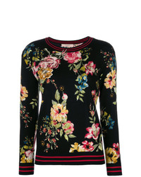Jersey con cuello circular con print de flores negro de Twin-Set