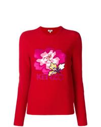 Jersey con cuello circular con print de flores rojo de Kenzo