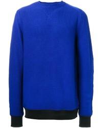 Jersey con cuello circular con relieve azul de Sacai