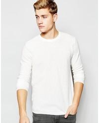 Jersey con cuello circular con relieve blanco de Solid