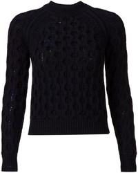 Jersey con cuello circular con relieve negro de Thierry Mugler