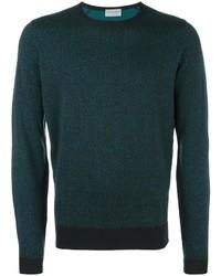 Jersey con cuello circular con relieve verde oscuro