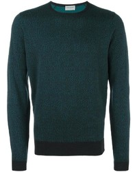Jersey con cuello circular con relieve verde oscuro de John Smedley