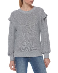 Jersey con cuello circular con volante gris