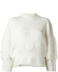 Jersey con cuello circular de angora blanco