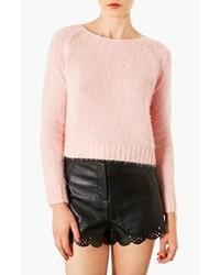 Jersey con cuello circular de angora rosado