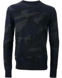 Jersey con cuello circular de camuflaje azul marino