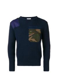 Jersey con cuello circular de camuflaje azul marino de Gosha Rubchinskiy