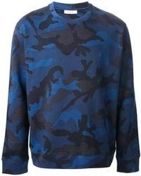 Jersey con cuello circular de camuflaje azul marino de Valentino
