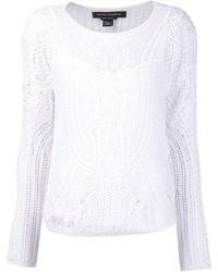 Jersey con cuello circular de crochet blanco