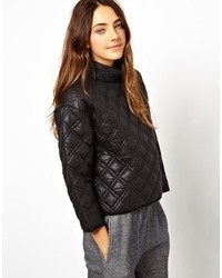Jersey con cuello circular de cuero acolchado negro de Asos