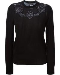 Jersey con cuello circular de encaje negro de Dolce & Gabbana