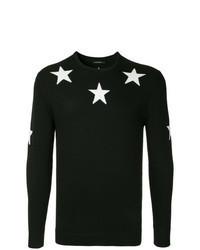 Jersey con cuello circular de estrellas en negro y blanco