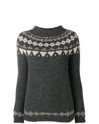 Jersey con cuello circular de grecas alpinos en gris oscuro