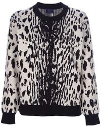 Jersey con cuello circular de leopardo en blanco y negro