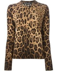 Jersey con cuello circular de leopardo marrón claro de Dolce & Gabbana