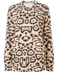Jersey con Cuello Circular de Leopardo Marrón Claro de Givenchy