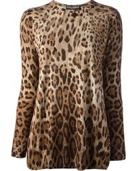 Jersey con cuello circular de leopardo marrón de Dolce & Gabbana