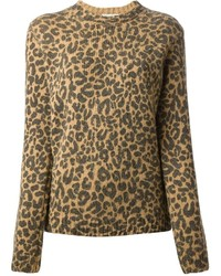 Jersey con cuello circular de leopardo marrón