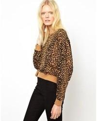 Jersey con cuello circular de leopardo marrón de Just Female