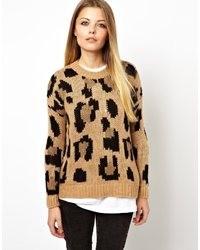Jersey con cuello circular de leopardo marrón de Pull&Bear