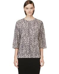 Jersey con cuello circular de leopardo negro