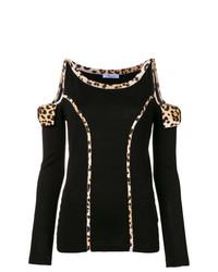 Jersey con cuello circular de leopardo negro de Blumarine