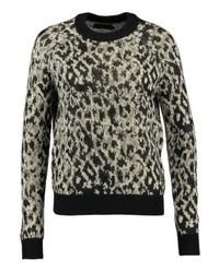 Jersey con cuello circular de leopardo negro de Even&Odd
