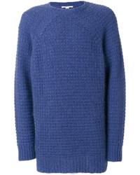 Jersey con cuello circular de mohair de punto azul de Stella McCartney