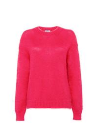 Jersey con cuello circular de mohair rosa de Prada