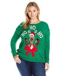 Jersey con cuello circular de navidad verde