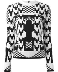 Jersey con cuello circular de pata de gallo en blanco y negro