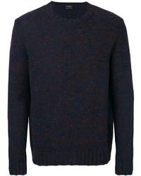 Jersey con cuello circular de punto azul marino de Jil Sander