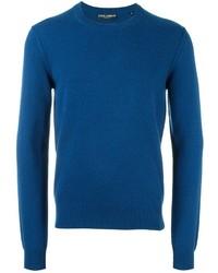 Jersey con cuello circular de punto azul de Dolce & Gabbana
