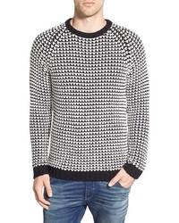 Jersey con cuello circular de punto en negro y blanco