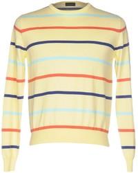 Jersey con cuello circular de rayas horizontales amarillo