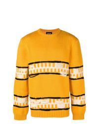 Jersey con cuello circular de rayas horizontales amarillo de Calvin Klein 205W39nyc