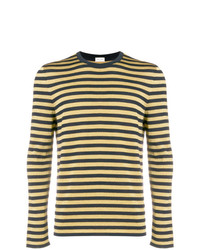 Jersey con cuello circular de rayas horizontales amarillo de Saint Laurent